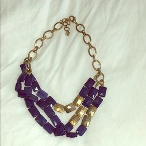 Stella and Dot blue and gold statement necklace